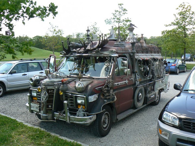 Vanadu Ford Art Car Parked - Goth Apocalypse Hunter Camper
