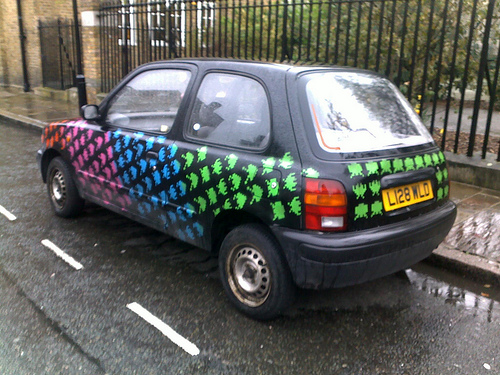 Space Invaders Take Over Art Car -Rear