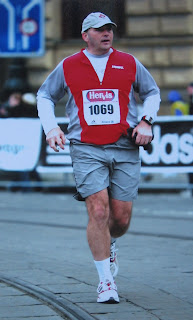 Dad running the Prague Half-Marathon