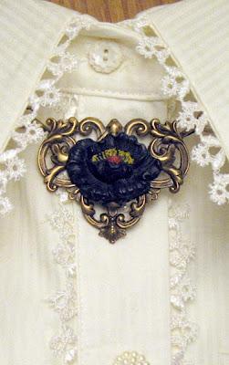 Victorian Black Poppy Necklace by Bernardini Designs