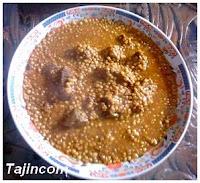 طجين العدس مع اللحم 3dissa+bel7em