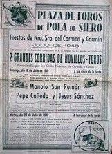 CARTEL TOROS  POLA DE SIERO (ASTURIAS) 1948
