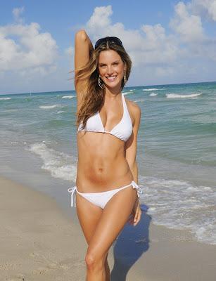 Alessandra Ambrosio in a white bikini