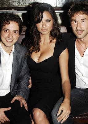 Adriana Lima in a sexy black dress