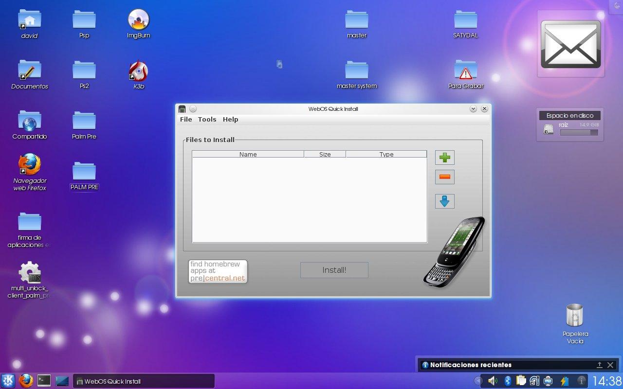 instalar programas palm: