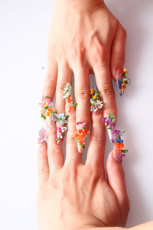 3d acrylic nail art design with colorful flower style - PICTURE 3D ACRYLIC NAIL Art Design ~ DESIGN NAIL