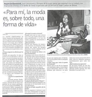 """ENTREVISTA PARA EL PERIÓDICO """"DEIA"""""""