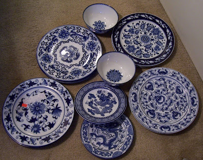 taditional tropical home bombay blue white dishes