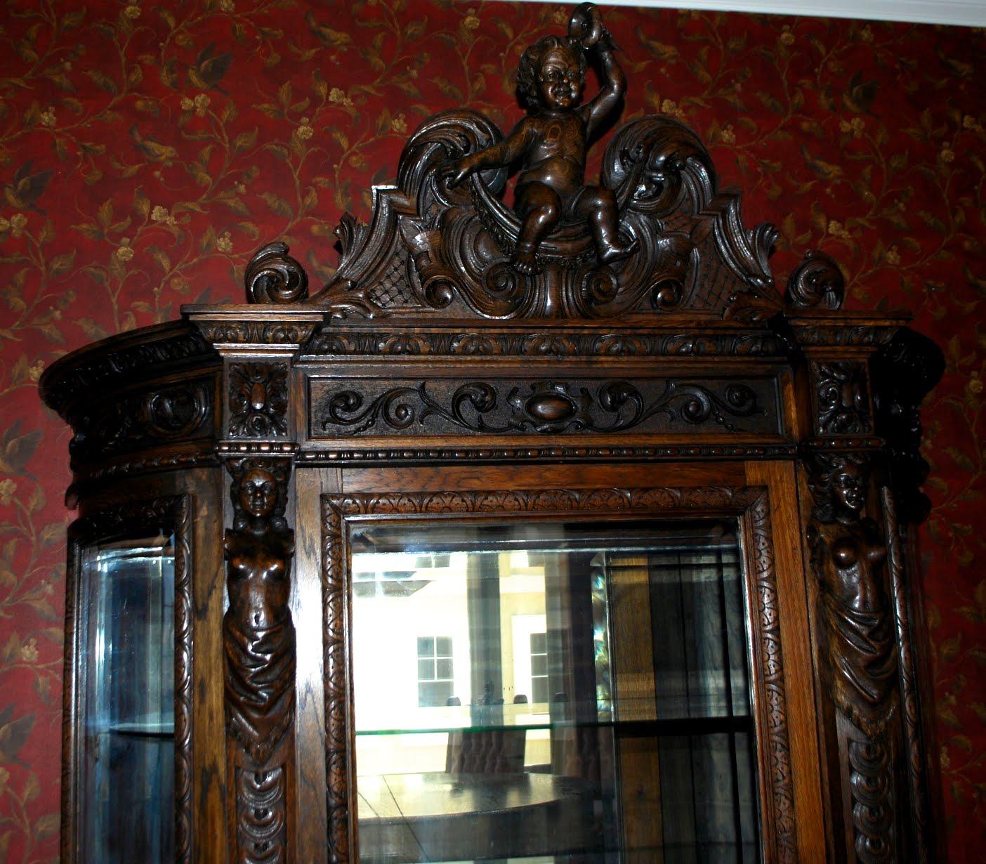 Victorian Antlers Oak Cherub 12 Piece Dining Room Set China Cabinet
