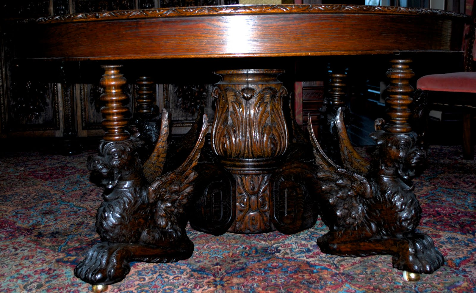 Victorian Antlers: Oak Cherub 12 Piece Dining Room Set (Table)