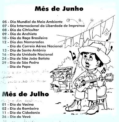 Junho+1 Datas Comemorativas do Mês de Junho para crianças