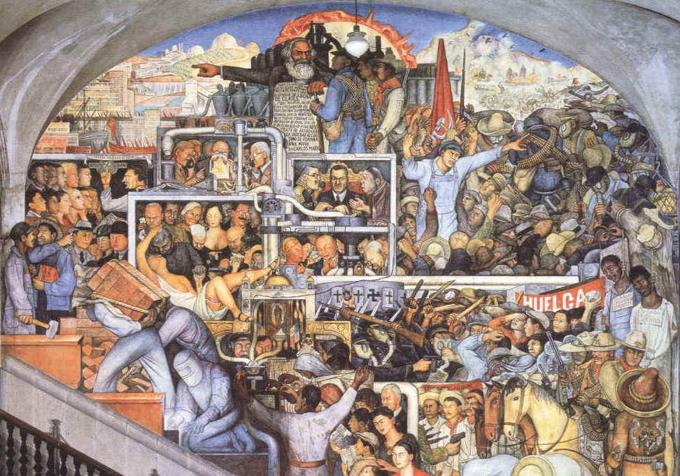 Word flies mural paintings depicting social change for Diego rivera tenochtitlan mural