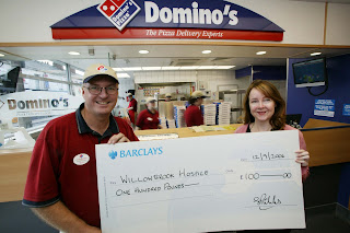 Willowbrook Hospice Charity Julie Garner Donation Dominos Pizza