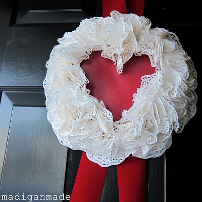 valentine crafts: a heart-shaped doily wreath tutorial