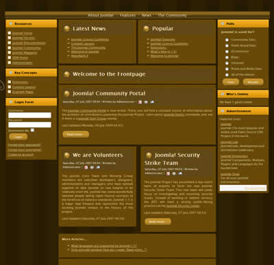 three column joomla 1.5 template with top navbar