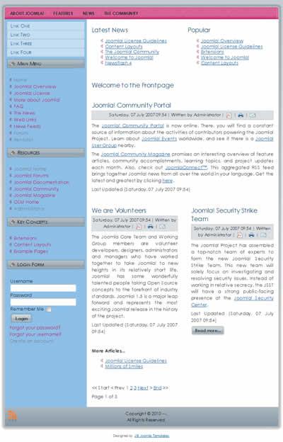 CMS Templates Joomla 2.5 Templates: Free 2 column simple Joomla 1.5 ...