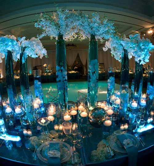 The Reception features lighting which washed the ballroom in a deep