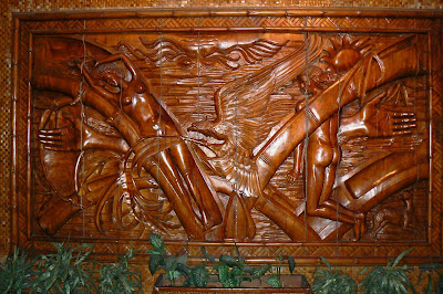 Malakas at Maganda legend carved in wood in the Romualdez Museum
