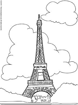 Eiffel Tower Colouring Picture on Mariposas En Los Muebles De Jardin  Reciclaje  Como Rbol De Navidad