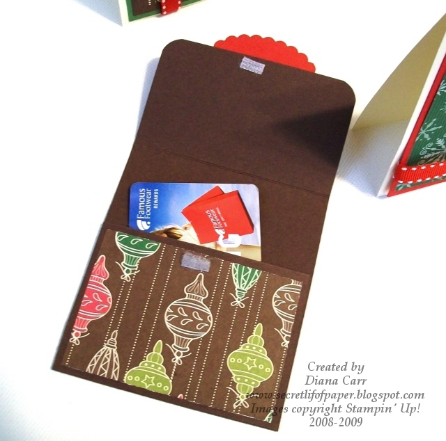 stampin up gift card holder instructions