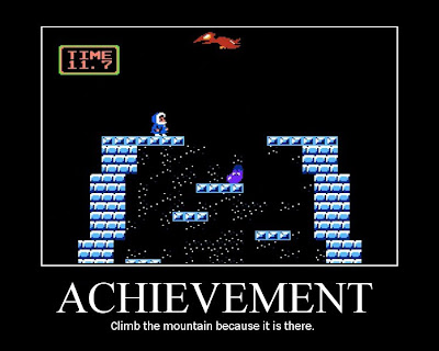 ice climber motivational poster, resigned gamer