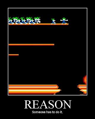 lemmings groupthink motivational poster, resigned gamer