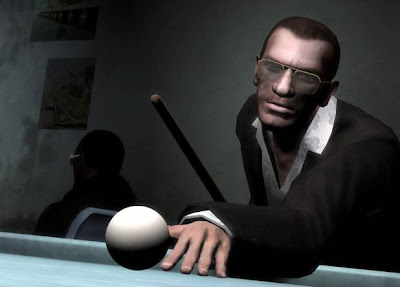 niko bellic playing pool, grand theft auto iv, resigned gamer