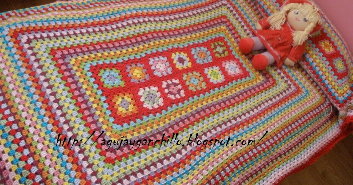 Aguja y ganchillo manta de grannies terminada - Mantas ganchillo colores ...