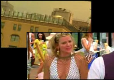 Samantha Jones from Sex and the City cooling off at the pool