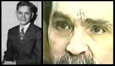 Juxtaposed imagery of Charles Manson before he became a sociopath and aftermath