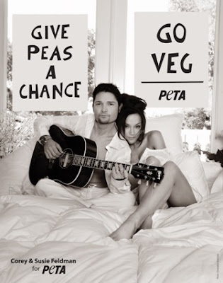 Corey and Susie Feldman pose for PETA poster - Photo courtesy of The PETA Files