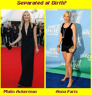 Actresses Malin Ackerman and Anna Faris appear separated at birth
