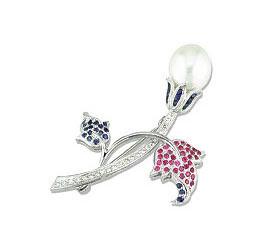 Pink Sapphire Flower Pin
