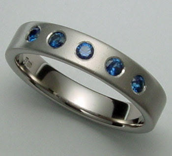 Blue Sapphire Titanium Ring