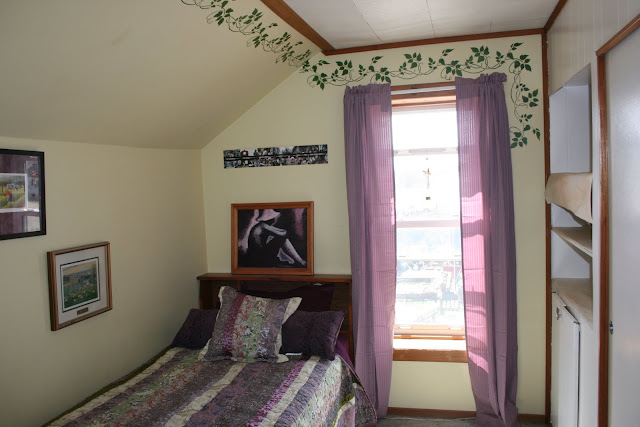 Farmhouse bedroom with new linens and curtains