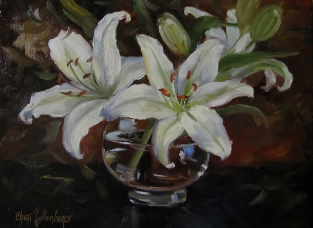 Dancing brush art by cheri wollenberg white lilies white lilies mightylinksfo