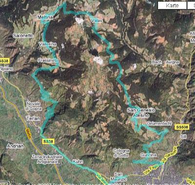 Streckenverlauf Rennradtour Bozen - Mölten - Bozen