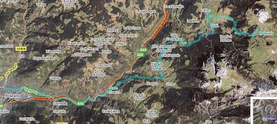 Satellitenfoto Rennradstrecke Bozen - Seiser Alm