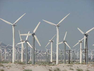 A small section of the windmill farm just outside Palm Springs in the Californian desert.