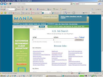 the Manta.com job listing
