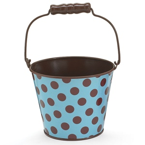Blue and Brown Wedding Ideas: Blue with Brown Polka Dots Tin Pail
