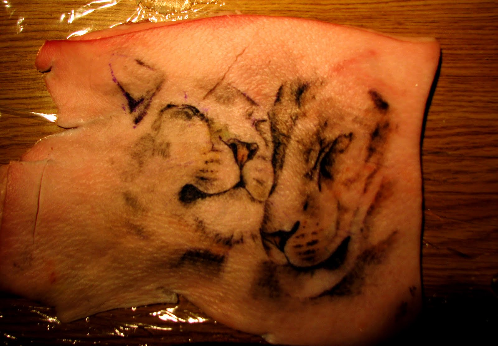 Imagine and animate lions tattoo for Pig skin tattoo