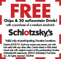 Schlotzsky's Coupons Free Chips and Drink