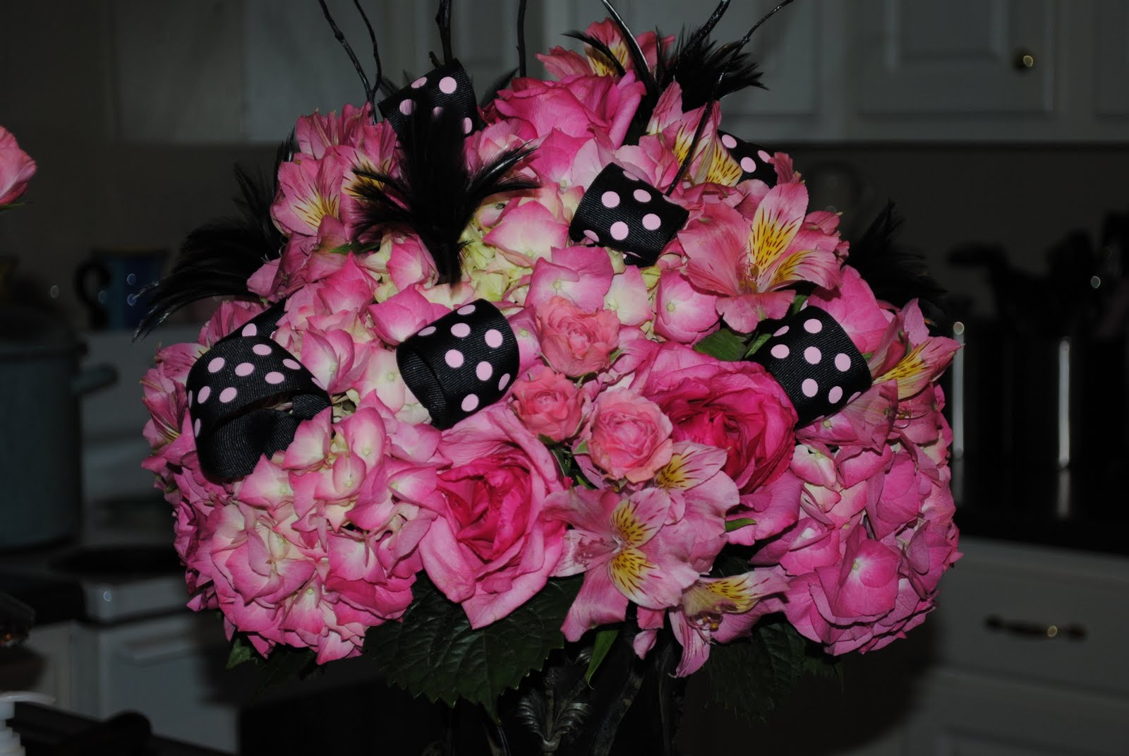 Two Shakes Of A Lambs Tail Chads Pink And Black Flower Arrangement