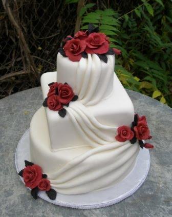 Cake place red and white wedding cake red and white wedding cake junglespirit Choice Image