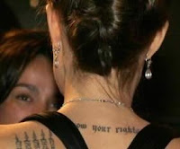 ANgelina Jolie Neck Tattoo