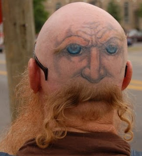 Stories Funny Funniest Pictures Humor: Funny Crazy Tattoo - Back or Front of Head Tattoo, moustache and tattoo back of head