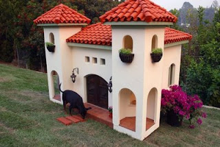 funny pic of massive dog house kennel mansion