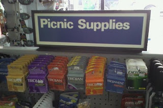 picnic supplies condom funny sign
