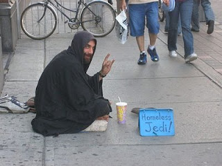 funny crazy photos of homeless jedi begging for cash no longer in star wars